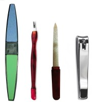 Antique Shop Set Of 1 Nail Clipper 1 Nail Buffer 1 Cuticle Trimmer Pusher & 1 Nail Filer Multicolor(Set of 4)