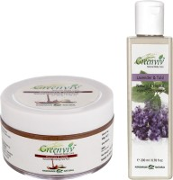 Greenviv 1 Lavender & Tulsi Hair Wash (200 ml) and 1 Chocolate & Vanilla Face Pack (100)(Set of 2)