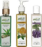 Greenviv 1 Aloe-Vera & LemonGrass Face Toner- 100 ml and 1 Minty Citrus Hand Wash- 200 ml and 1 Lavender & Tulsi Hair Conditioner- 200 ml(Set of 3)