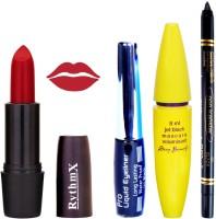 Rythmx Rose Red Lipstick Bold Look Eyeliner Black kajal Magnum Beauty Maskara Kit 10108(Set of 4)