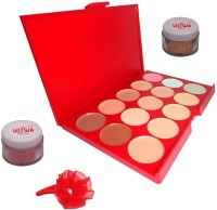 Vozwa Maroon Shimmer Powder, Golden Glitter, 15 Shades Concealer and Band(Set of 4)
