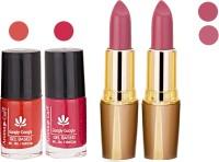 Aroma Care Orange Nail Polish + Purple Lipstick Combo 2907201642(Set of 4)