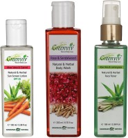 Greenviv Aloe-Vera & Carrot Sun Screen Lotion SPF-25 (100 ml), Rose & SandalWood Body Wash (200 ml) With Aloe-Vera & LemonGrass Face Toner (100 ml)(Set of 3)
