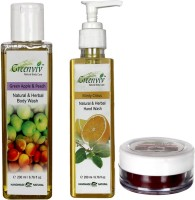 Greenviv Minty Citrus Hand Wash (200 ml), Green Apple & Peach Body Wash (200 ml) With Strawberry Lip Balm (5 gm)(Set of 3)