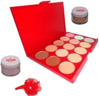Vozwa Light Copper Shimmer Powder, Golden Glitter, 15 Shades Concealer and Band(Set of 4)