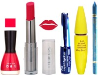 Rythmx Intense Matte Royal Pink Shade Lipstick, Baby Pink Nail Polish,Black Eyeliner,Mascara, And Turquoise Blue Kajal 639(Set of 5)