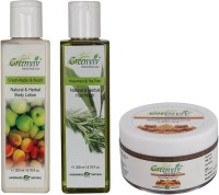 Greenviv Green Apple & Peach Body Lotion (200 ml), Rosemary & Tea Tree Hair Wash (200 ml) With Fruity Brown Sugar Face Scrub (50 gm)(Set of 3)