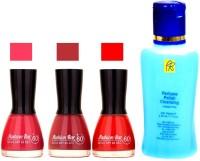 Fashion Bar Stengthening Nail Polish Remover And Pink,Redish Brown,Orange Shades Nail Polish 52420(Set of 4)
