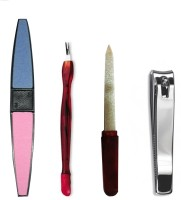 Antique Shop Set Of 1 Nail Clipper 1 Nail Buffer 1 Cuticle Trimmer Pusher & 1 Nail Filer Multicolor(Set of)