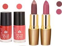 Aroma Care Orange Nail Polish + Brown Lipstick Combo 2907201621(Set of 4)