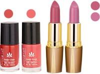 Aroma Care Orange Nail Polish + Purple Lipstick Combo 2907201679(Set of 4)