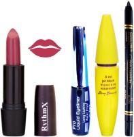 Rythmx Apricot Purple Lipstick Bold Look Eyeliner Black kajal Magnum Beauty Maskara Kit 10100(Set of 4)