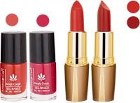 Aroma Care Orange Nail Polish + Red Lipstick Combo 2907201686(Set of 4)