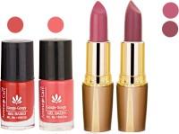 Aroma Care Orange Nail Polish + Purple Lipstick Combo 2907201677(Set of 4)