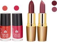 Aroma Care Orange Nail Polish + Brown Lipstick Combo 2907201618(Set of 4)