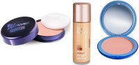 Blue Heaven Xpression Pan Cake,Oil Free Foundation & Silk On Face Compact Combo.(Set of 3)