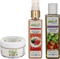 Greenviv Aloe-Vera & Chamomile Baby Balm (50 gm), Rose & Geranium Face Toner (100 ml) With Green Apple & Peach Body Wash (200 ml)(Set of 3)