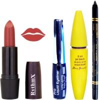 Rythmx Solor Browny Shade Lipstick Bold Look Eyeliner Black kajal Magnum Beauty Maskara Kit 1095(Set of 4)