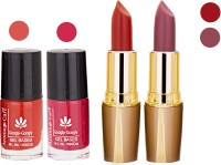 Aroma Care Orange Nail Polish + Maroon Lipstick Combo 29072016106(Set of 4)