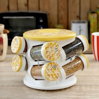 JVS Majestic Spice Tower Harvest Yellow 8 Piece Condiment Set(Plastic)