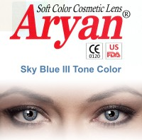 Aryan Tri Tone Sky Blue By Visions India Yearly Contact Lens(-1.25, Sky Blue, Pack of 2)