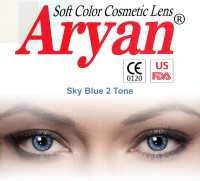 Aryan 2 Tone Sky Blue By Visions India Yearly Contact Lens(-0.75, Sky Blue, Pack of 2)