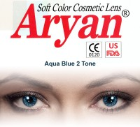 Aryan 2 Tone Aqua Blue By Visions India Yearly(-0.00, Colored Contact Lenses, Pack of 2)