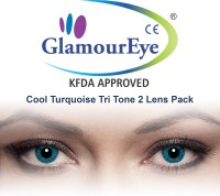 Glamour Eye Cool Turquoise By Visions India Monthly Contact Lens(-1.00, Cool Turquoise, Pack of 2)