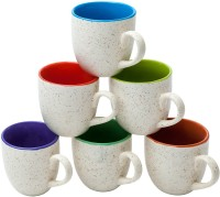 Elite Handicrafts White & Multicolor Inside Tea Cups Set of 6 - Best for Self Use; and Diwali, Dhanteras & Festive Gifts Ceramic(White, Pack of 6)
