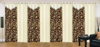 Ville Style 214 cm (7 ft) Polyester Door Curtain (Pack Of 8)(Abstract, Brown, Cream)