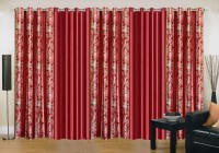 Ville Style 275 cm (9 ft) Polyester Long Door Curtain (Pack Of 5)(Abstract, Maroon)