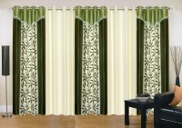 Ville Style 275 cm (9 ft) Polyester Long Door Curtain (Pack Of 5)(Floral, Green, Cream)