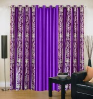 Ville Style 214 cm (7 ft) Polyester Door Curtain (Pack Of 3)(Abstract, Purple)