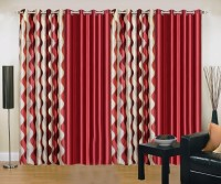Ville Style 214 cm (7 ft) Polyester Door Curtain (Pack Of 4)(Abstract, Maroon)