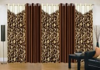 Ville Style 275 cm (9 ft) Polyester Long Door Curtain (Pack Of 5)(Abstract, Brown)