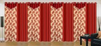 Ville Style 275 cm (9 ft) Polyester Long Door Curtain (Pack Of 8)(Abstract, Red)