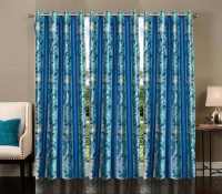 Ville Style 214 cm (7 ft) Polyester Door Curtain (Pack Of 3)(Abstract, Light Blue)