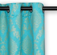 Soumya Furnishings 217 cm (7 ft) Dupion Door Curtain Single Curtain(Abstract, Blue)