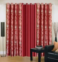 Ville Style 214 cm (7 ft) Polyester Door Curtain (Pack Of 3)(Abstract, Maroon)