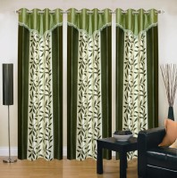 Ville Style 214 cm (7 ft) Polyester Door Curtain (Pack Of 3)(Floral, Green)