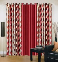 Ville Style 275 cm (9 ft) Polyester Long Door Curtain (Pack Of 3)(Abstract, Maroon)