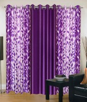 JT International 213.36 cm (7 ft) Polyester Door Curtain (Pack Of 3)(Floral, Purple)