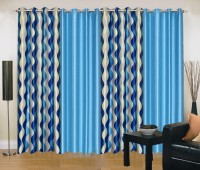 Ville Style 214 cm (7 ft) Polyester Door Curtain (Pack Of 4)(Abstract, Blue, Aqua)