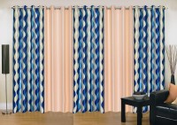 Ville Style 275 cm (9 ft) Polyester Long Door Curtain (Pack Of 5)(Abstract, Blue, Beige)