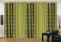 Ville Style 214 cm (7 ft) Polyester Door Curtain (Pack Of 5)(Abstract, Green)