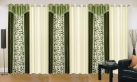Ville Style 275 cm (9 ft) Polyester Long Door Curtain (Pack Of 6)(Floral, Green, Cream)