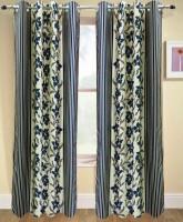 Urban Arts 213.36 cm (7 ft) Polyester Door Curtain Single Curtain(Abstract, Dark Blue)