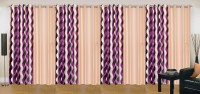 Ville Style 275 cm (9 ft) Polyester Long Door Curtain (Pack Of 8)(Abstract, Purple, Cream)