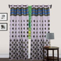 JT International 213.36 cm (7 ft) Polyester Door Curtain (Pack Of 2)(Floral, Green)