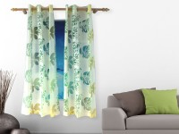Veer Creations 150 cm (5 ft) Polycotton Window Curtain (Pack Of 2)(Floral, Multicolor)